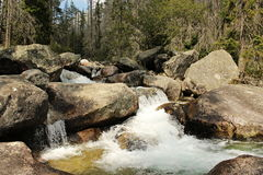 Mountain River. Raging over large rocks stock photo