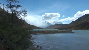 Mountain river and relax in Patagonia Argentina. Unique landscape of wildlife. Beautiful nature background. Travel and tourism in picturesque world of stone stock footage