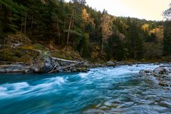 Mountain river with rifts and green water. Bolshoy Zelenchuk River. royalty free stock images