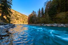 Mountain river with rifts and green water. Bolshoy Zelenchuk River. royalty free stock image