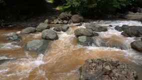 Mountain river with rocks and boulders stock video footage