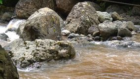 Mountain river with rocks and boulders stock footage