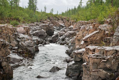 Mountain river in the rocks. Stock Photos