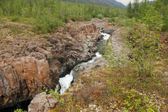 Mountain river in the rocks. Royalty Free Stock Images