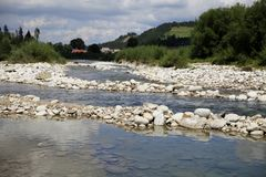 Mountain river with rocks. View of clear mountain river with rocks Royalty Free Stock Photo