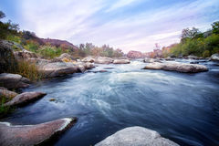 Mountain river in the rocky banks of overgrown trees Stock Images