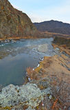 Mountain river and rocky coast, Gorny Altai, Siberia, Russia Royalty Free Stock Images