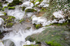 Mountain river. Running through stone thresholds of winter in  mountains Royalty Free Stock Photo