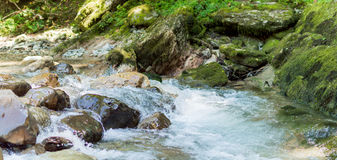 Mountain river in Russia. Water on rocks. stock photos