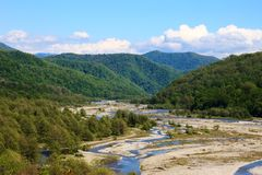 Mountain river Shahe. View of the mountain river of the Shahe in the area of the Big Sochi Royalty Free Stock Image