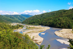 Mountain river Shahe. View of the mountain river of the Shahe in the area of the Big Sochi Royalty Free Stock Photo
