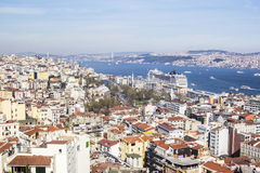A top view of the Galata area and  Istanbul Kabatas Stock Images