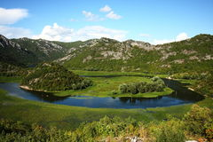 Mountain river and small delta. Beautiful river flowing to Skadar Lake in Montenegro Stock Images