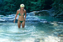 Mountain river and smile girl Royalty Free Stock Image