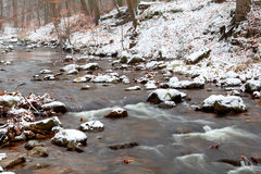 Mountain river in snow Stock Images