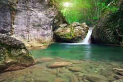 Mountain river. Spring rill flow. Stock Photography