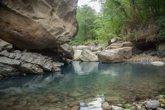 Mountain river in the stone bed. At summer Stock Image