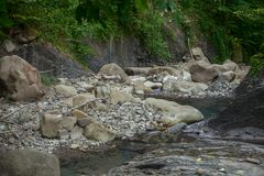 Mountain river in the stone bed. At summer Royalty Free Stock Images