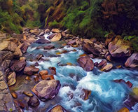Mountain river in stone riverbed. Digital illustration of green forest with cold water current. Royalty Free Stock Image