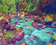 Mountain river in stone riverbed. Digital illustration of wild forest with cold water current. Spring flow image in neon glow colors. Green fir tree forest Stock Image
