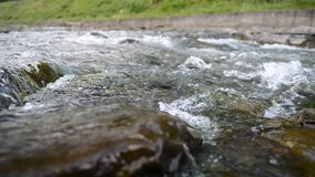 Mountain River with Stones with Transparent Water stock footage