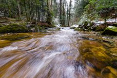 Free Mountain River, Stream, Creek With Rapids In Late Autumn, Early Winter With Snow, Vintgar Gorge, Slovenia Royalty Free Stock Photos - 105150398