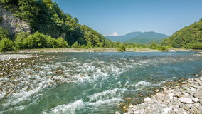 Mountain River Stream In Gorge. Mountain river stream on rocks in gorge stock video footage