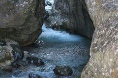 Mountain river stream. Serrai di sottoguda canyon, Veneto, Italy. Stock Photos