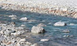 Mountain river stream of water in the rocks. royalty free stock photography
