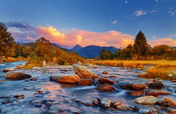 Mountain River Sunset Stock Photo