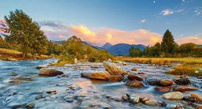 Mountain River Sunset Royalty Free Stock Photos