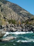 Mountain river with the thresholds Royalty Free Stock Photo