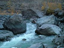 Mountain river with the thresholds Royalty Free Stock Images