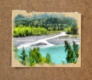 Mountain river, trees. Russian summer watercolor landscape on pa. Per with a torn edge in the passepartout Stock Images