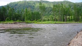 The mountain river Ursul, flows down from the hills into the valley, sandwiched in the stony banks covered with forests.