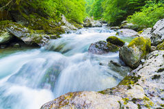 Mountain River, Valgerola, Italy. Mountain river with blurred motion water effect Stock Photography