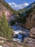 Mountain river in a valley against mountains. Sunny summer day at the shore of a mountain river. In the background, the snow-white mountain peaks visible Stock Photo