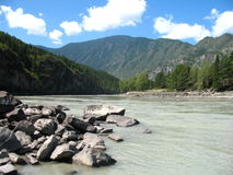 Mountain river valley, Altai, Russia Stock Photos
