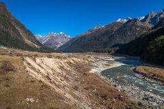 Mountain river valley Yumthang Sikkim India. Royalty Free Stock Images