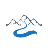 Mountain river, vector logo illustration. Royalty Free Stock Photography