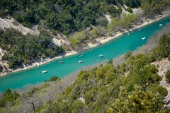Mountain river. Verdon Canyon in springtime, Provence. France stock images