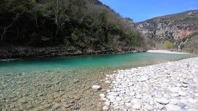 Mountain river. Verdon Canyon in springtime, Provence. France. Eploring Verdon Canyon in kayak. Provence. France stock video footage