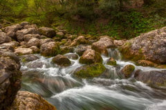 Mountain river water stream over rocks in the forest. Long exposure photo of mountain river water stream over rocks in the forest Stock Image