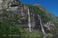 Mountain river with waterfall in Norway Royalty Free Stock Photo