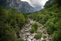 Mountain river and waterfall Stock Image