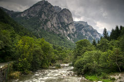 Mountain river and waterfall Royalty Free Stock Photo