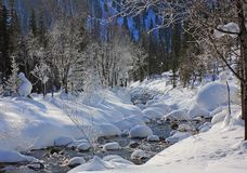 Mountain river in winter. Time. The photo is made in Russia on March, 5 2012 Royalty Free Stock Image