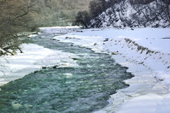 Mountain river in winter Royalty Free Stock Photos