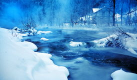 Mountain river in winter morming Royalty Free Stock Photos