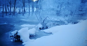 Mountain river in winter morming Stock Images